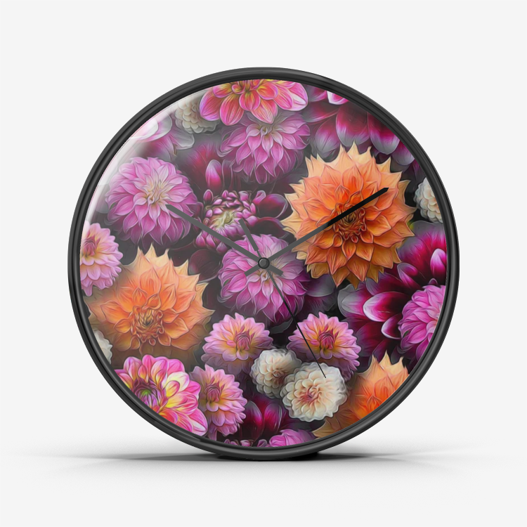 Pink and Orange Dahlias Wall Clock Silent Non Ticking Quality Quartz