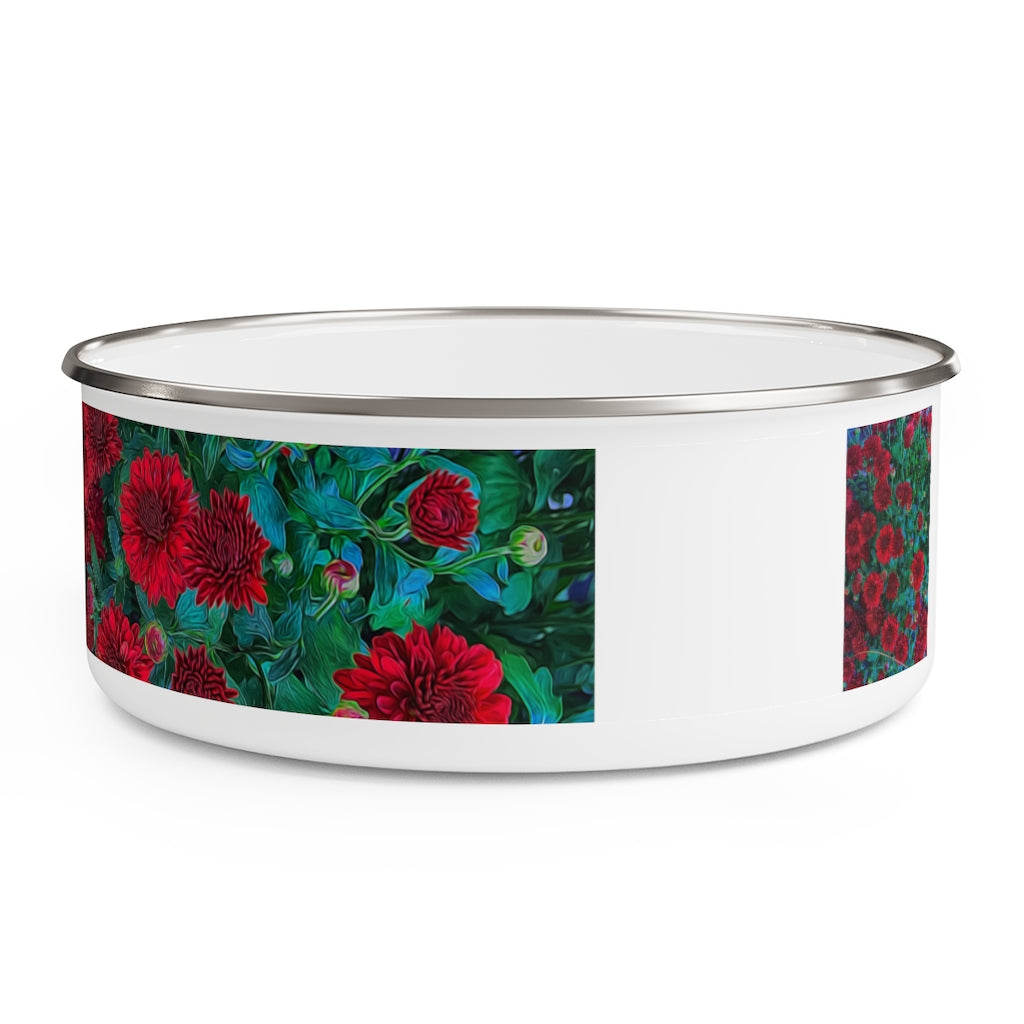 Red Mums Enamel Bowl
