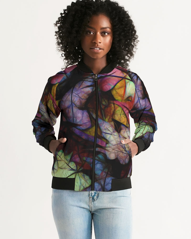 Fall Leaves Abstract Women's Bomber Jacket