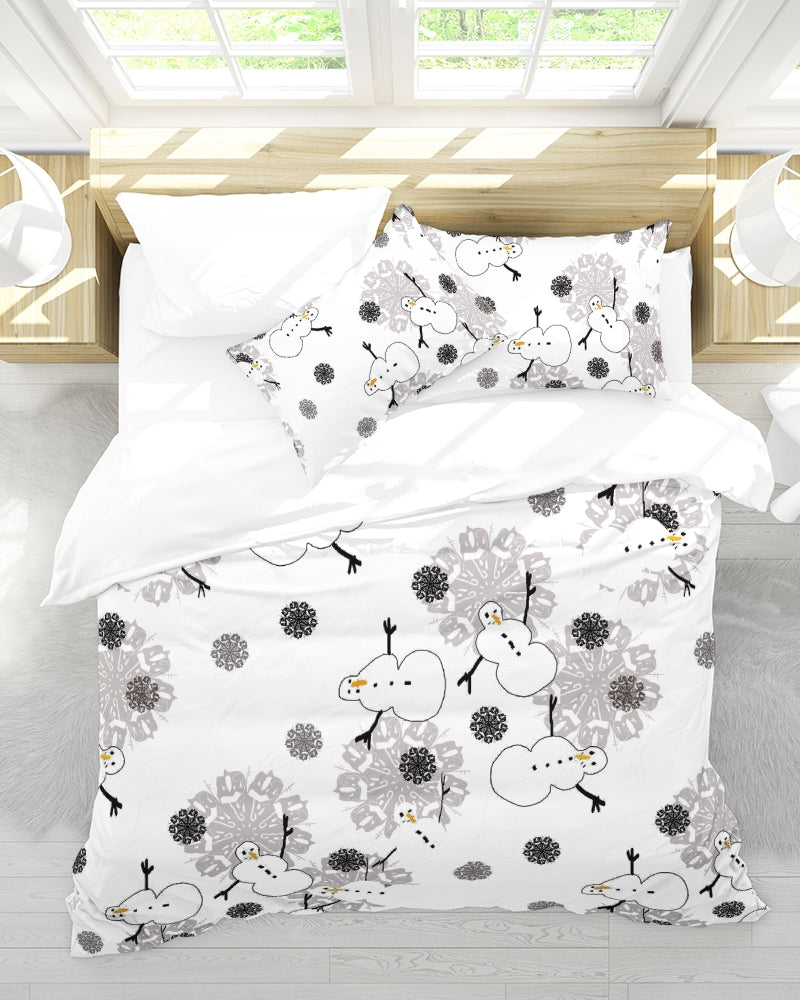 Snowman Pattern Queen Duvet Cover Set
