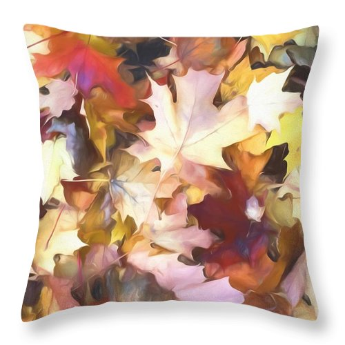 Fall Leaves Bright - Throw Pillow