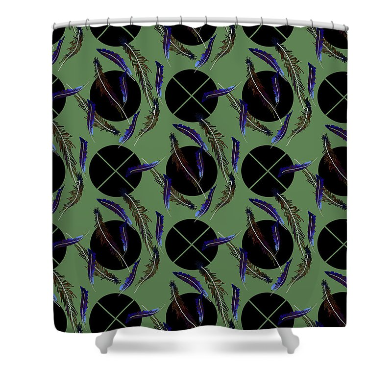 Feathers and Polkadots - Shower Curtain