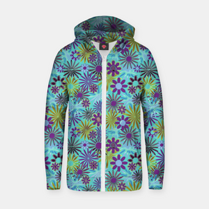 Blue and Purple Daisies Zip up hoodie