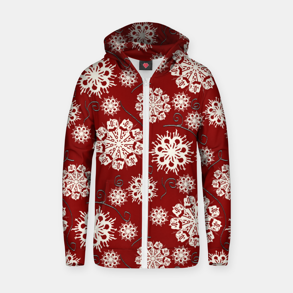 Snowflakes On Red Zip up hoodie
