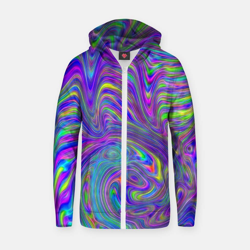 Abstract With Blue Zip up hoodie