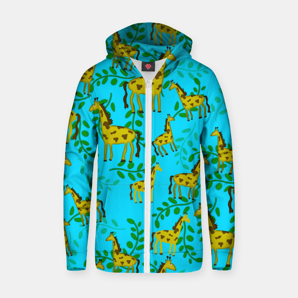 Cute Giraffes Pattern Zip up hoodie