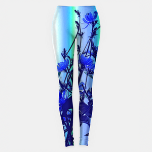 Blue Wildflowers With Backlight Leggings