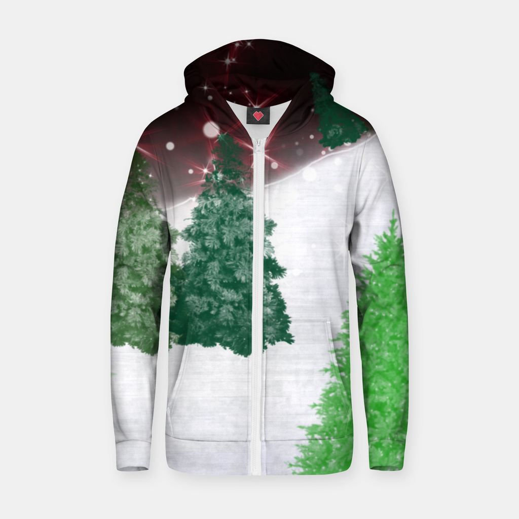 Trees on a Christmas Hill Zip up hoodie