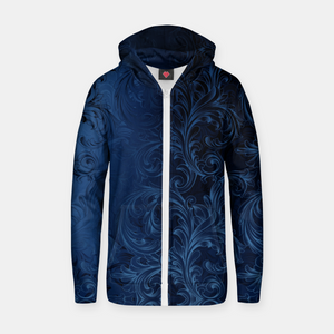 Blue Faux Velvet Swirls Zip up hoodie
