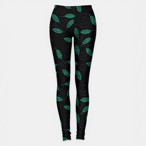 Copper Leaves Gray Vines Leggings