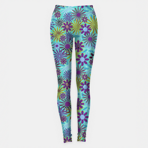 Blue and Purple Daisies Leggings