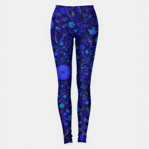 Blue Medieval Flowers Leggings