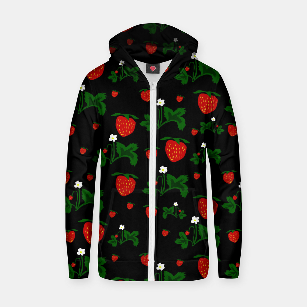 Wild Strawberries Pattern Zip up hoodie