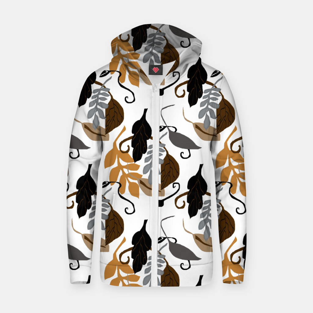 Gray Brown Neutral Leaves Pattern Zip up hoodie