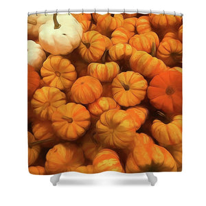 Pumpkins Tiny Gourds Pile - Shower Curtain