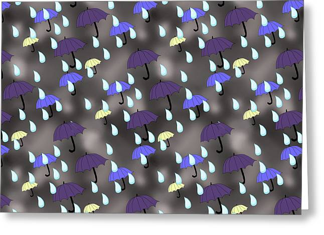 Rain and Umbrellas - Greeting Card