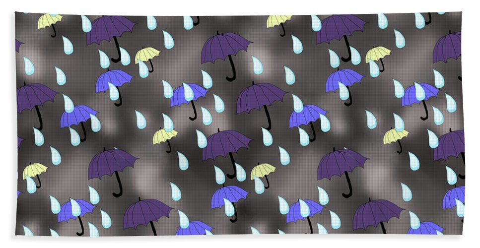 Rain and Umbrellas - Beach Towel
