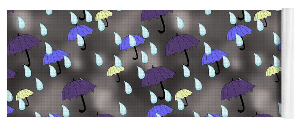 Rain and Umbrellas - Yoga Mat