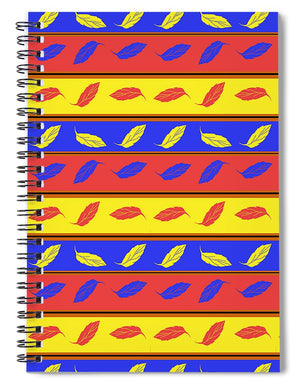 Red Blue Yellow Leaves Stripes - Spiral Notebook