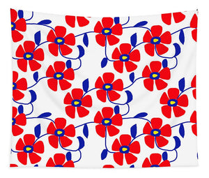 Red Flowers Blue Vines - Tapestry