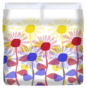Red Yellow and Blue Sunflowers - Duvet Cover
