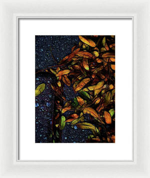Sidewalk Leaves in Brick - Framed Print
