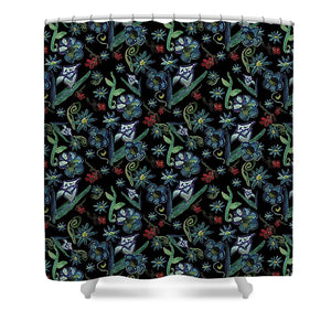 Watercolor Flowers On Black - Shower Curtain