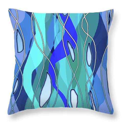 Wavy Blue - Throw Pillow