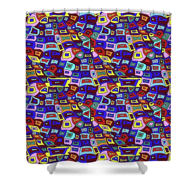 Wavy Squares Pattern - Shower Curtain