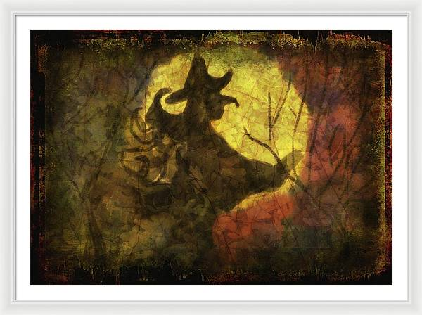 Witch on Texture - Framed Print