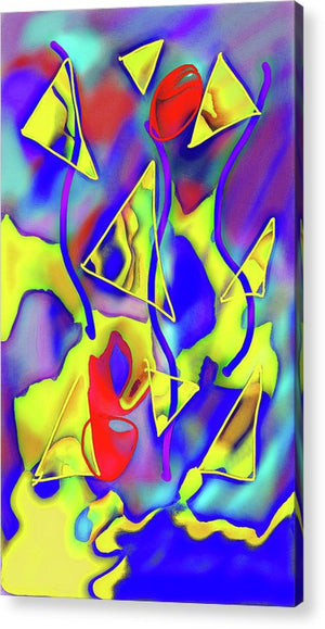 Yellow Triangles Abstract - Acrylic Print