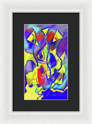 Yellow Triangles Abstract - Framed Print