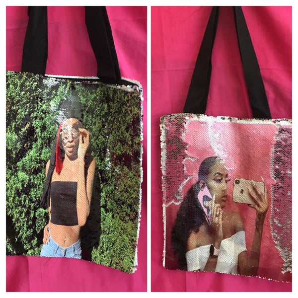 Reversible Photo Sequin Tote Bag,
