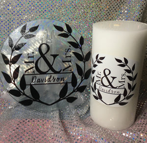 Personalized Candle & Glass holder set