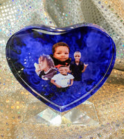 "Personalized ""heart shaped"" crystal"