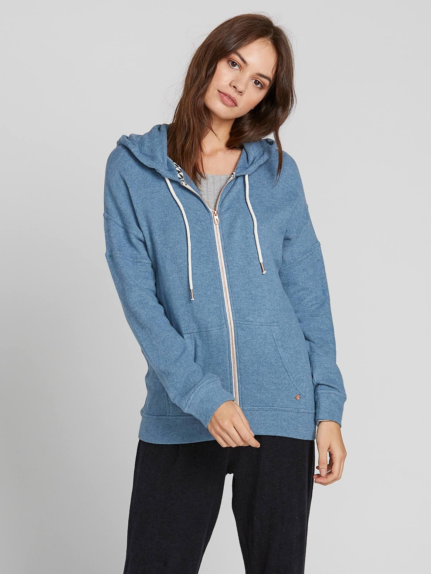 Sueter Volcom De Dama Lived In Lounge Zip Fleece - Navy
