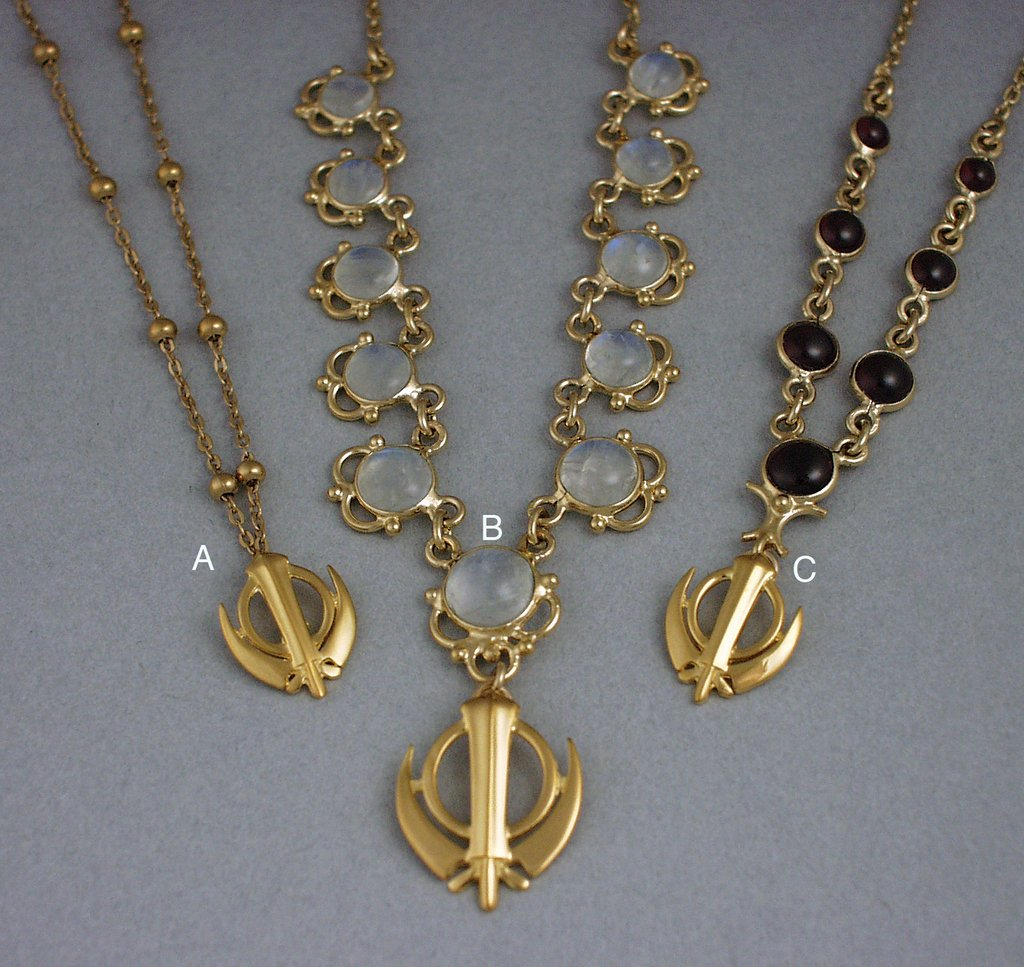 Necklaces with extra small khanda / adi shakti pendants