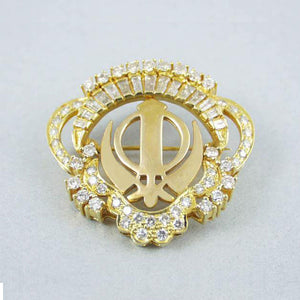 Gold and Diamond Khanda / Adi Shakti pin pendant