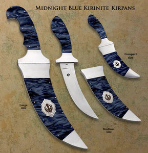 Large, Medium and Compact Kirinite™ Kirpans in 3 colors and 3 sizes including frameless (lightweight)