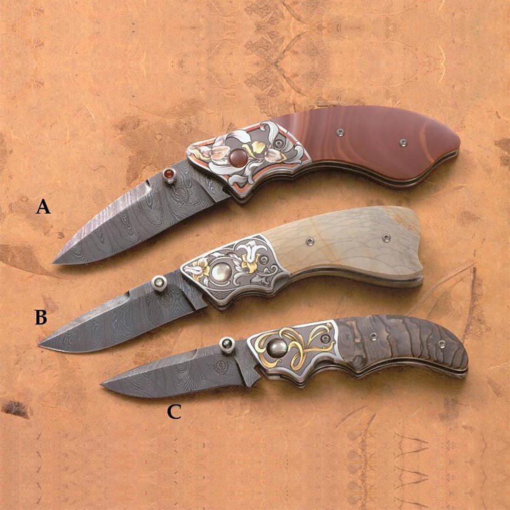 3 natural jasper handled folding knives