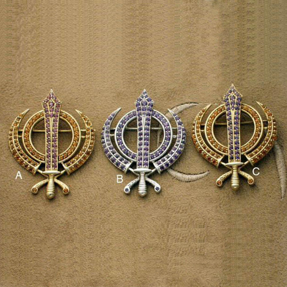 Faceted Multi-Gemstone Khanda / Adi Shakti Pin Pendant