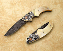 Load image into Gallery viewer, Gold mother of pearl, engraved auto-folding knife
