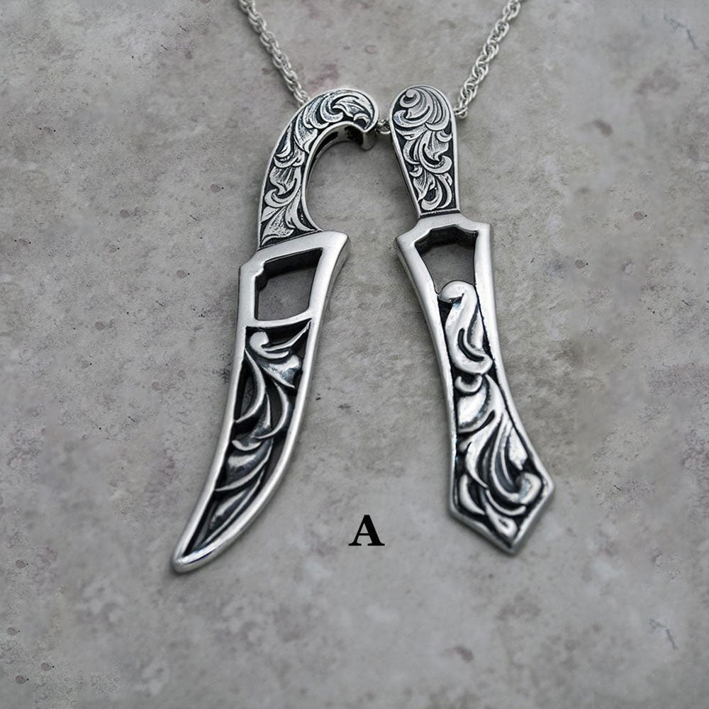 Carved, sculpted and engraved larger Khanda and Kirpan pendants on chains