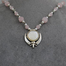 Load image into Gallery viewer, Carved rose quartz, silver and pearl Adi Shakti necklace