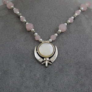 Carved rose quartz, silver and pearl Adi Shakti necklace