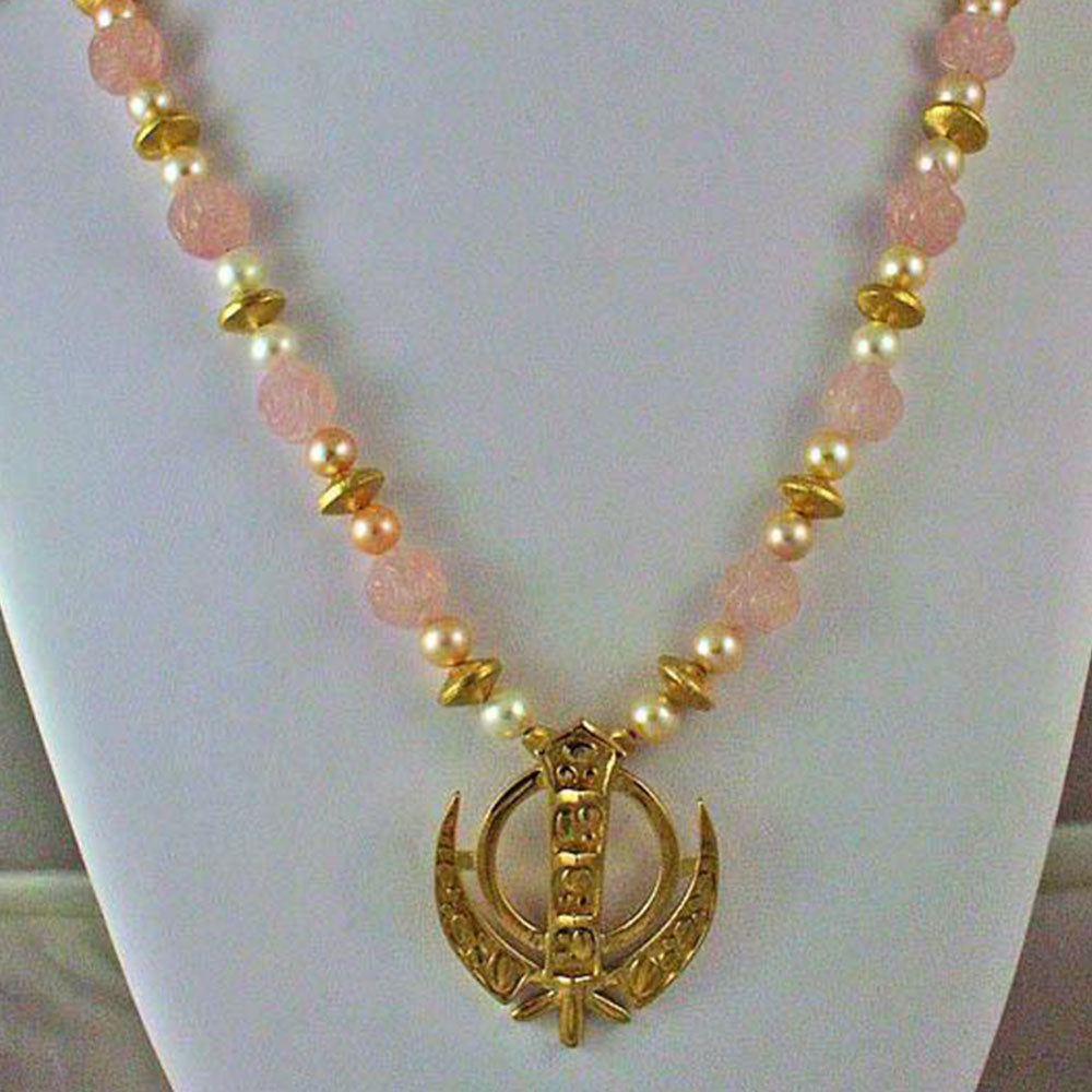 Carved rose quartz pearl adi shakti necklace