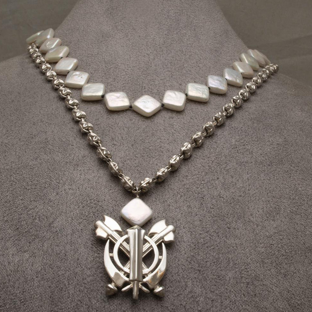 Silver, Square Pearl, Double-Axe Khanda / Adi Shakti Necklace