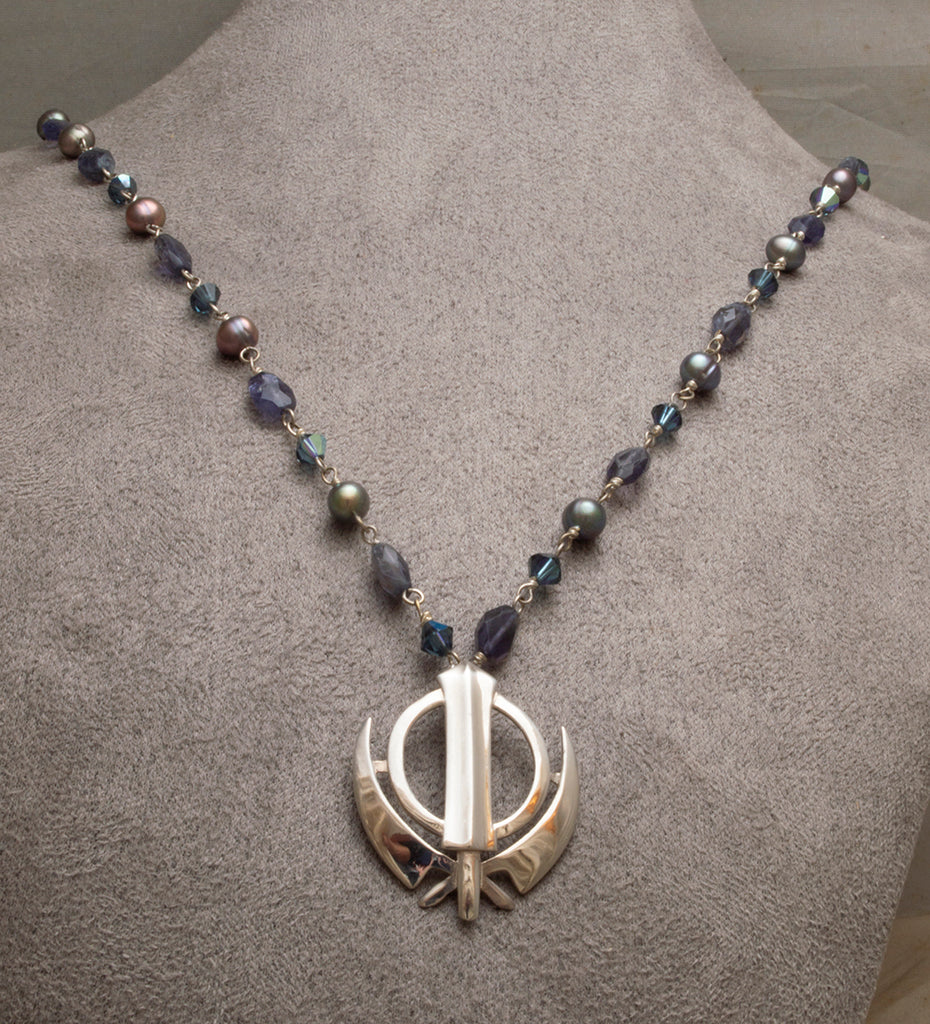 Black Pearl, Faceted Amethyst Khanda / Adi Shakti Necklace