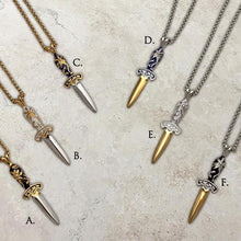 Load image into Gallery viewer, Two-tone steel Flower dagger pendants on chains