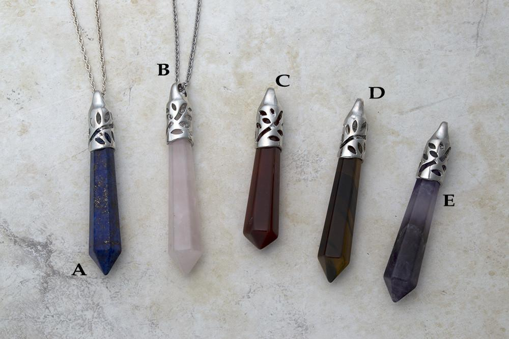 Lapis lazuli, rose quartz, carnelian, tiger eye and amethyst gemstone point pendants